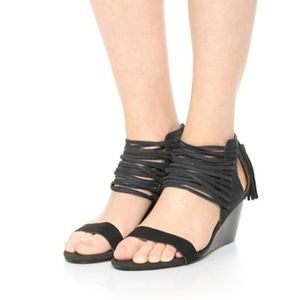ANTHROPOLOGIE MATIKO STRAPPY WEDGES BLACK LEATHER